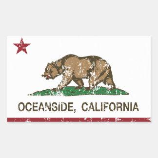 カリフォルニア州の旗のオーシャンサイド 長方形シール