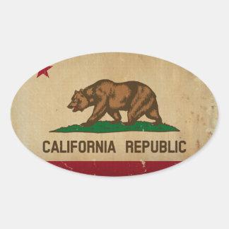 カリフォルニア州の旗のヴィンテージ 楕円形シール