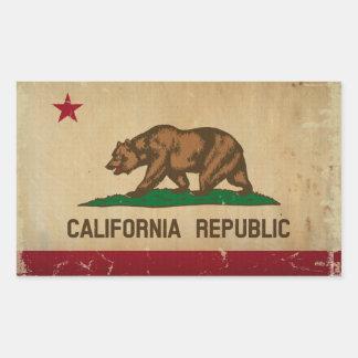 カリフォルニア州の旗のヴィンテージ 長方形シール