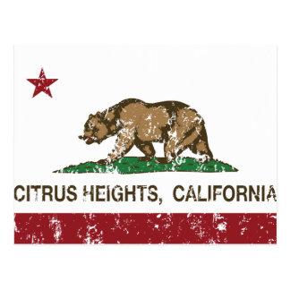 カリフォルニア州の旗の柑橘類の高さ ポストカード