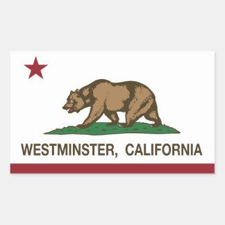 カリフォルニア州の旗ウエストミンスター 長方形シール