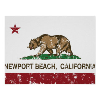 カリフォルニア州の旗ニューポートビーチ ポスター