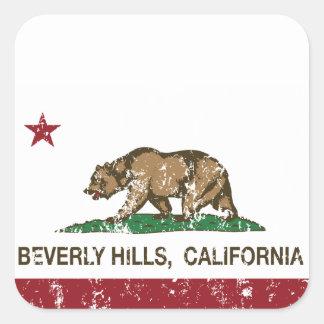 カリフォルニア州の旗ビバリー・ヒルズ スクエアシール