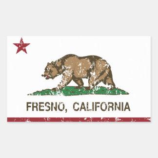 カリフォルニア州の旗フレズノ 長方形シール