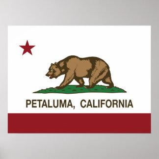 カリフォルニア州の旗Petaluma ポスター