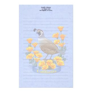 カリフォルニア州鳥のウズラ及び金ケシ 便箋
