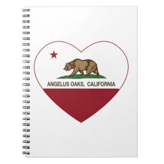 カリフォルニア旗のお告げの祈りのカシのハート ノートブック
