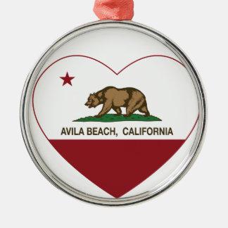 カリフォルニア旗のアビラのビーチのハート メタルオーナメント