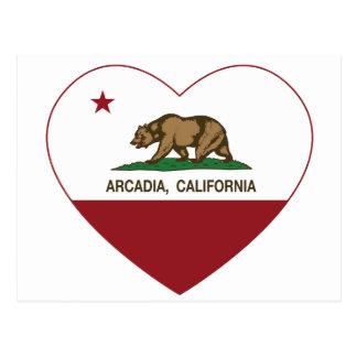 カリフォルニア旗のアルカディアのハート ポストカード