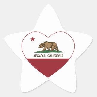カリフォルニア旗のアルカディアのハート 星シール