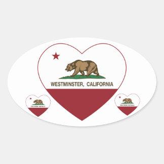 カリフォルニア旗のウエストミンスターのハート 楕円形シール