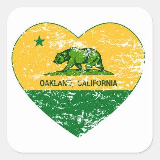 カリフォルニア旗のオークランドの緑および黄色ハート スクエアシール