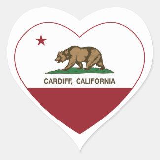 カリフォルニア旗のカーディフのハート ハートシール
