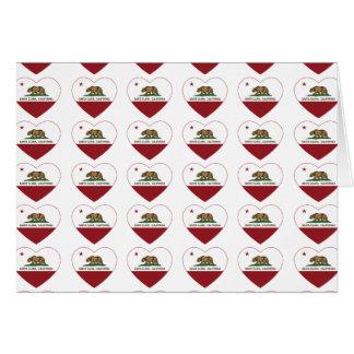 カリフォルニア旗のサンタクララのハート カード
