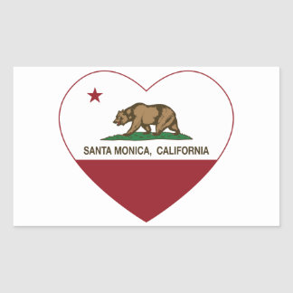 カリフォルニア旗のサンタモニカのハート 長方形シール