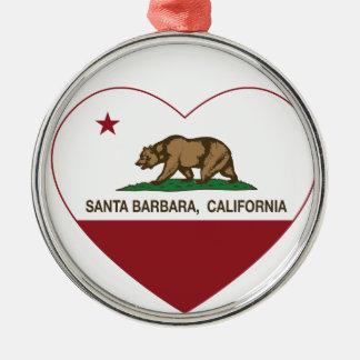 カリフォルニア旗のサンタ・バーバラのハート メタルオーナメント