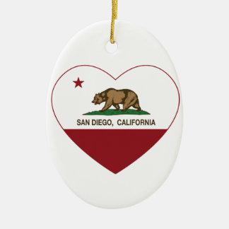 カリフォルニア旗のサンディエゴのハート セラミックオーナメント