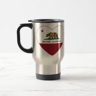 カリフォルニア旗のサンノゼのハート トラベルマグ