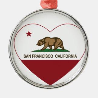カリフォルニア旗のサンフランシスコのハート メタルオーナメント