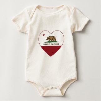 カリフォルニア旗のバークレーのハート ベビーボディスーツ