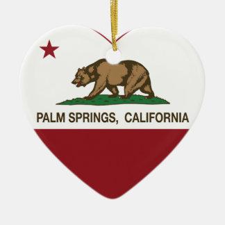 カリフォルニア旗のパーム・スプリングスのハート セラミックオーナメント