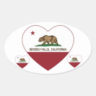 カリフォルニア旗のビバリー・ヒルズのハート 楕円形シール