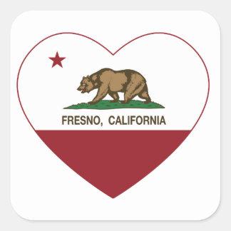 カリフォルニア旗のフレズノのハート スクエアシール