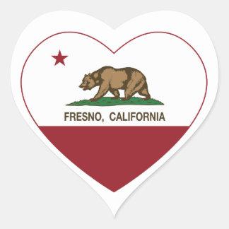 カリフォルニア旗のフレズノのハート ハートシール