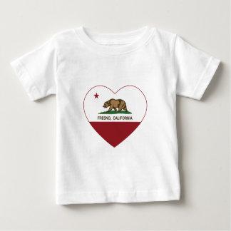 カリフォルニア旗のフレズノのハート ベビーTシャツ