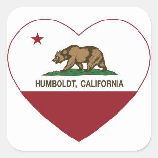 カリフォルニア旗のフンボルトのハート スクエアシール