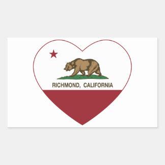 カリフォルニア旗のリッチモンドのハート 長方形シール