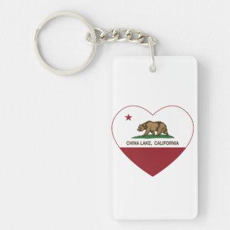 カリフォルニア旗の中国湖のハート キーホルダー