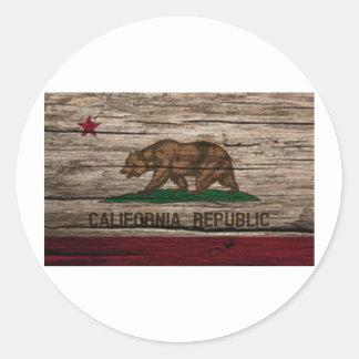 カリフォルニア旗の素朴な木 ラウンドシール