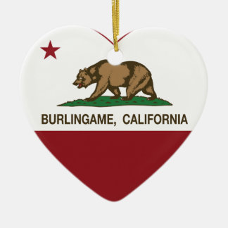 カリフォルニア旗のburlingameのハート セラミックオーナメント
