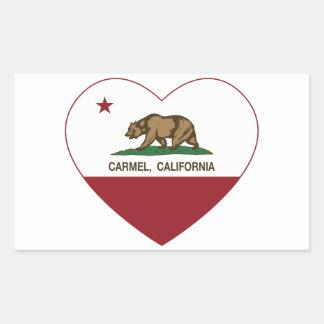 カリフォルニア旗のcarmelのハート 長方形シールステッカー