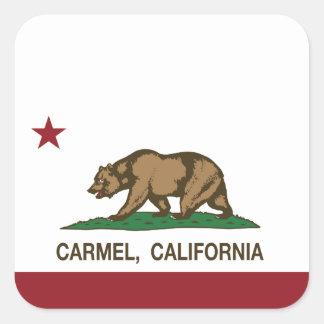 カリフォルニア旗のcarmelの旗 正方形シールステッカー