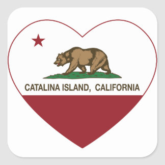 カリフォルニア旗のcatalinaの島のハート スクエアシール