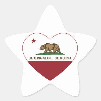 カリフォルニア旗のcatalinaの島のハート 星シール