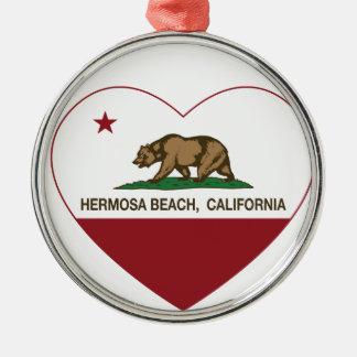 カリフォルニア旗のhermosaのビーチのハート メタルオーナメント