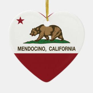 カリフォルニア旗のmendocinoのハート セラミックオーナメント