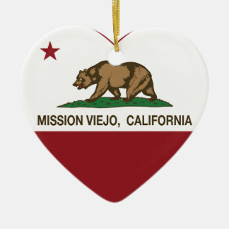 カリフォルニア旗のMission Viejoのハート セラミックオーナメント