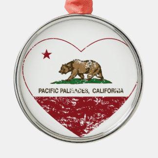 カリフォルニア旗のPacific Palisadesのハートのdist メタルオーナメント