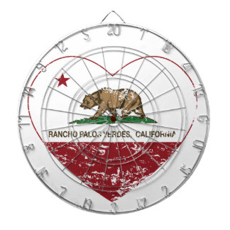 カリフォルニア旗のRancho Palosのverdesのハートdis ダーツボード