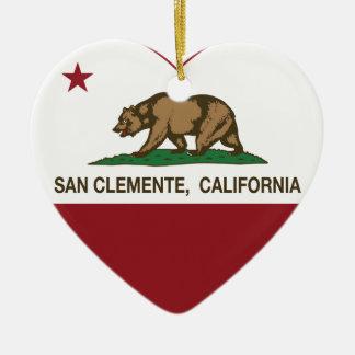カリフォルニア旗のSan Clementeのハート セラミックオーナメント