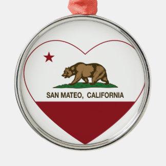 カリフォルニア旗のSan Mateoのハート メタルオーナメント