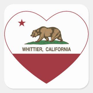 カリフォルニア旗のwhittierハート スクエアシール