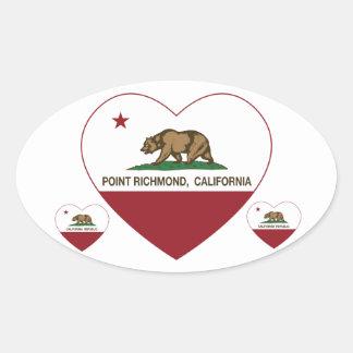 カリフォルニア旗ポイントリッチモンドのハート 楕円形シール