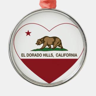カリフォルニア旗elのdoradoの丘のハート メタルオーナメント