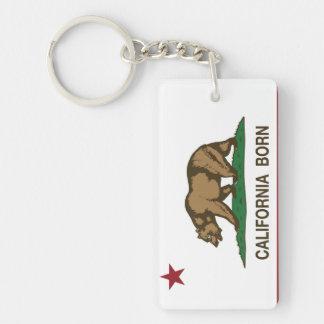 カリフォルニア生まれるくまの旗 キーホルダー