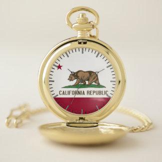 カリフォルニア米国の旗が付いている愛国心が強い壊中時計 ポケットウォッチ